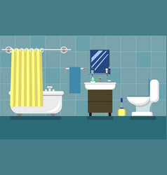 bathroom with furniture flat style vector image