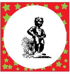 Black 8-bit manneken pis statue in brussels vector