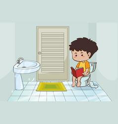Boy reading book in the toilet vector