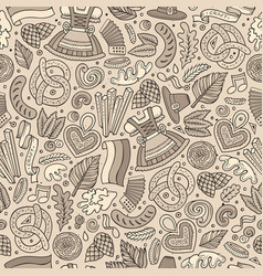 Cartoon cute hand drawn beer fest seamless pattern vector