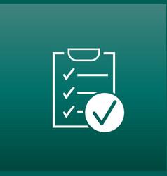checklist icon survey in flat design on green vector image vector image