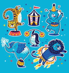 collection of stickers with circus animals vector image vector image