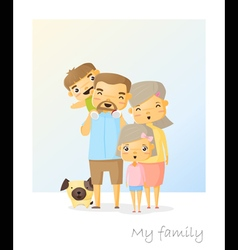 Cute family portrait Happy family background vector image vector image