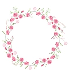 Detailed contour wreath with herbs roses and wild vector