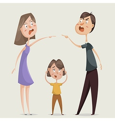 divorce family conflict wife husband and child vector image vector image