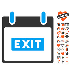 Exit caption calendar day icon with lovely bonus vector