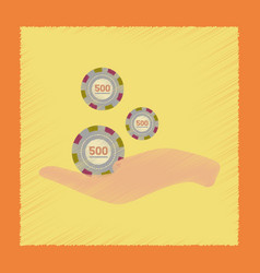Flat shading style icon casino chips in hand vector
