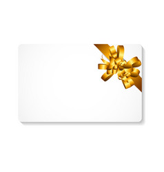 Gift Card with Gold Bow and Ribbon vector image vector image