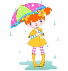 Girl rain vector
