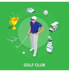 Golf club concept Isometric golfer and apparel vector image