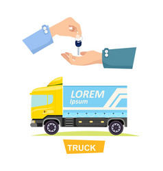 hand passing key process of buying renting truck vector image vector image