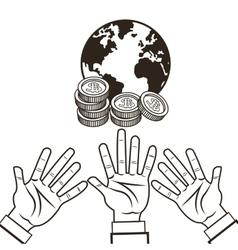 Hand planet coins money sketch design vector