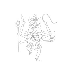 Kali in outline style for coloring vector