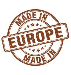 Made in europe brown grunge round stamp vector