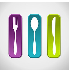 Multicolored cutlery icons set background vector image vector image