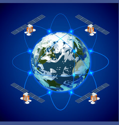 network and satellite data exchange over planet vector image vector image