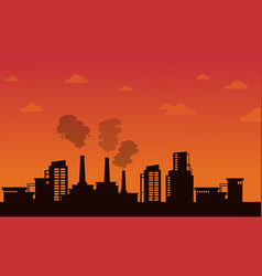Pollution industry on orange background vector