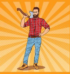 Pop art lumberjack with beard and axe vector