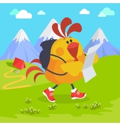 Rooster bird on excursion in mountains vector