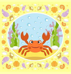 Sea background with crab vector