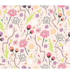 Seamless floral pattern background with flowers vector