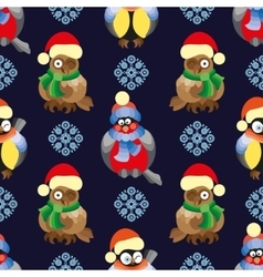 Seamless pattern with birds and in winter vector image