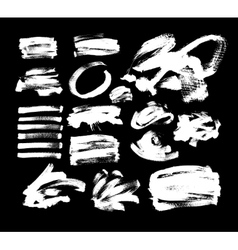 Set of 20 white ink hand drawing brushes vector