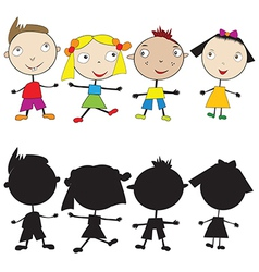 Set of doodle children and their silhouettes vector image