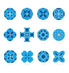 Set of geometric shapes round blue mosaic vector