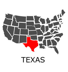 State of texas on map of usa vector