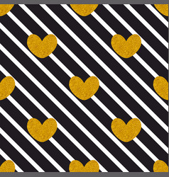 tile pattern with golden hearts on black and white vector image