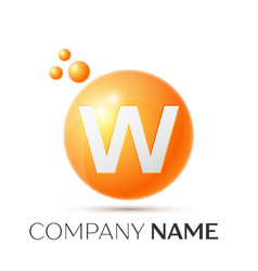 W letter splash orange dots and circle bubble vector