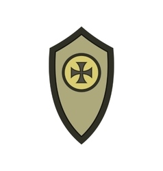 Warrior shield with cross icon flat style vector image