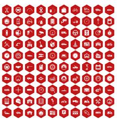 100 garage icons hexagon red vector