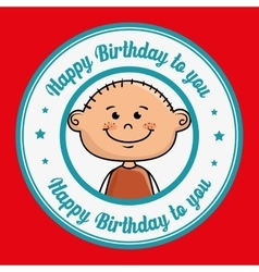 Boy cartoon happy birthday vector