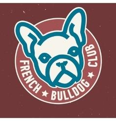 French bulldog club circle emblem design vector
