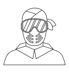 Paintball player in protective mask icon vector