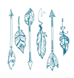 American indians feather arrows set old vector