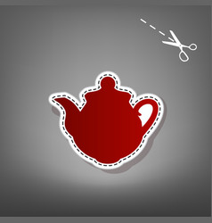 Tea maker kitchen sign  red icon with for vector