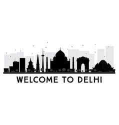 delhi city skyline black and white silhouette vector image
