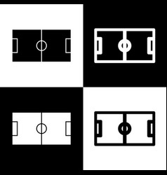 Soccer field  black and white icons and vector