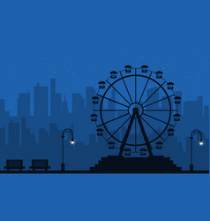 At night amusement scenery silhouette vector