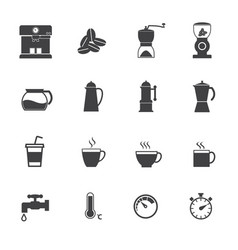 coffee maker icons set flat design for infographic vector image