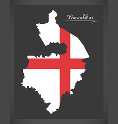 Warwickshire map england uk with english national vector