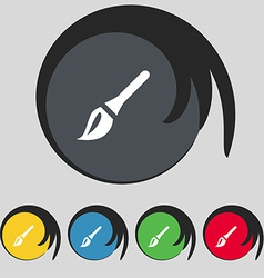 Paint brush artist icon sign symbol on five vector