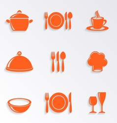 Cooking and kitchen restaurant menu icons vector