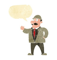 Cartoon sensible business man in bowler hat with vector