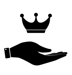 Crown in hand icon vector