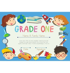 Certificate with children on the border vector