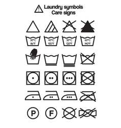 Laundry symbols care signs vector